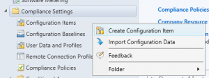 Compliance Create Configuration Item