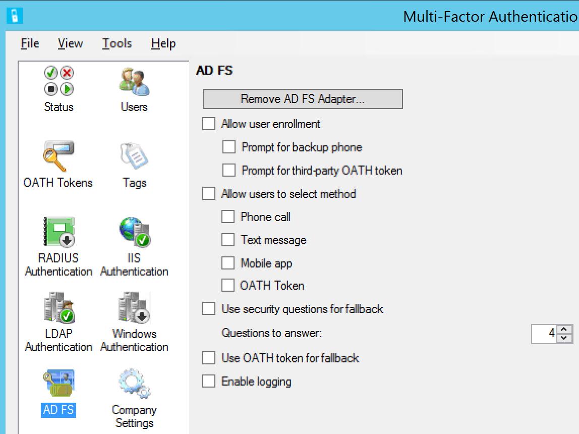 MFA ADFS integratie