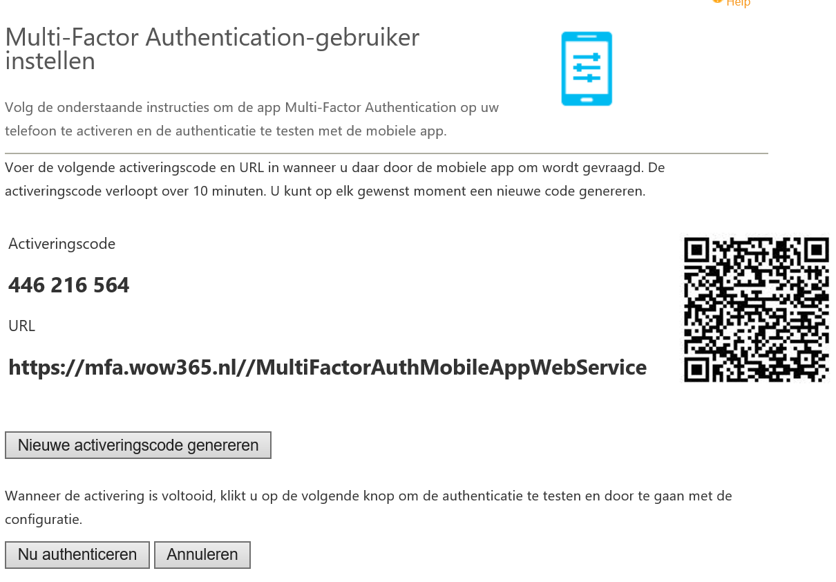 MFA Mobile activatie