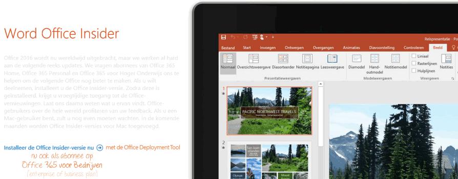 Office Insider nu ook voor Office 365 Enterprise en Business (voor Bedrijven)