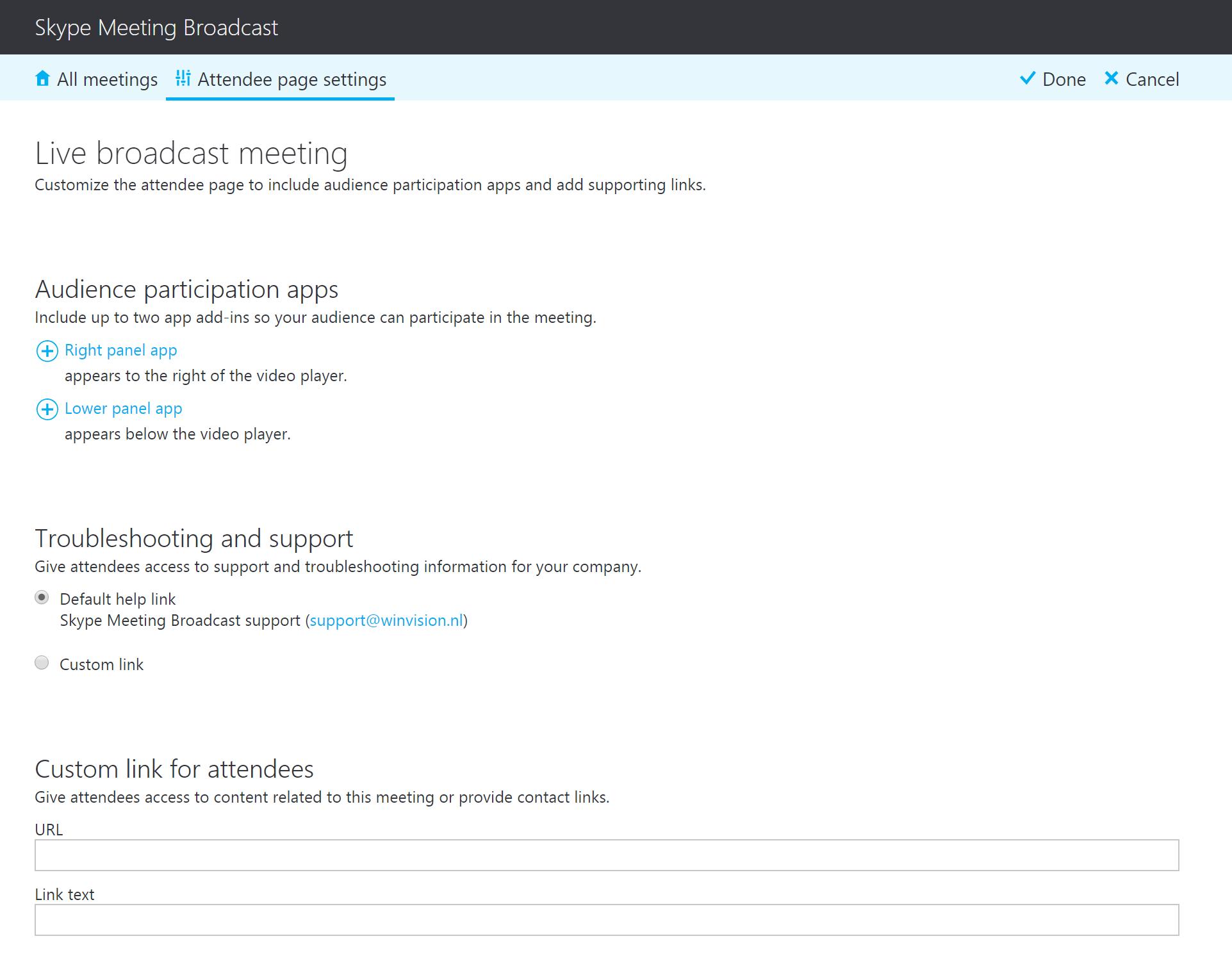 Overzicht configuratie attendee Skype Meeting Broadcast