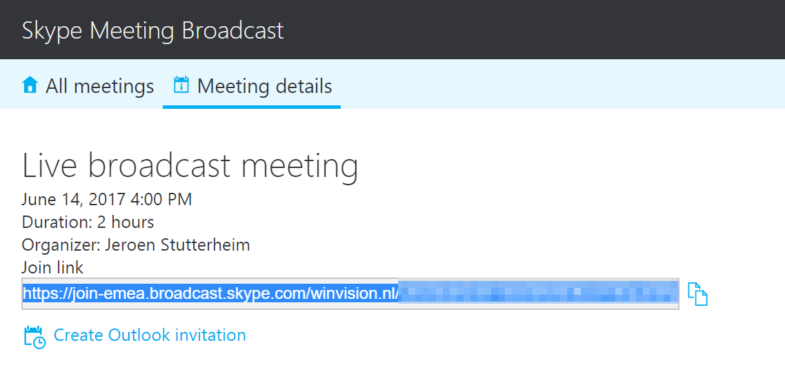 Broadcast starten Skype Meeting Broadcast