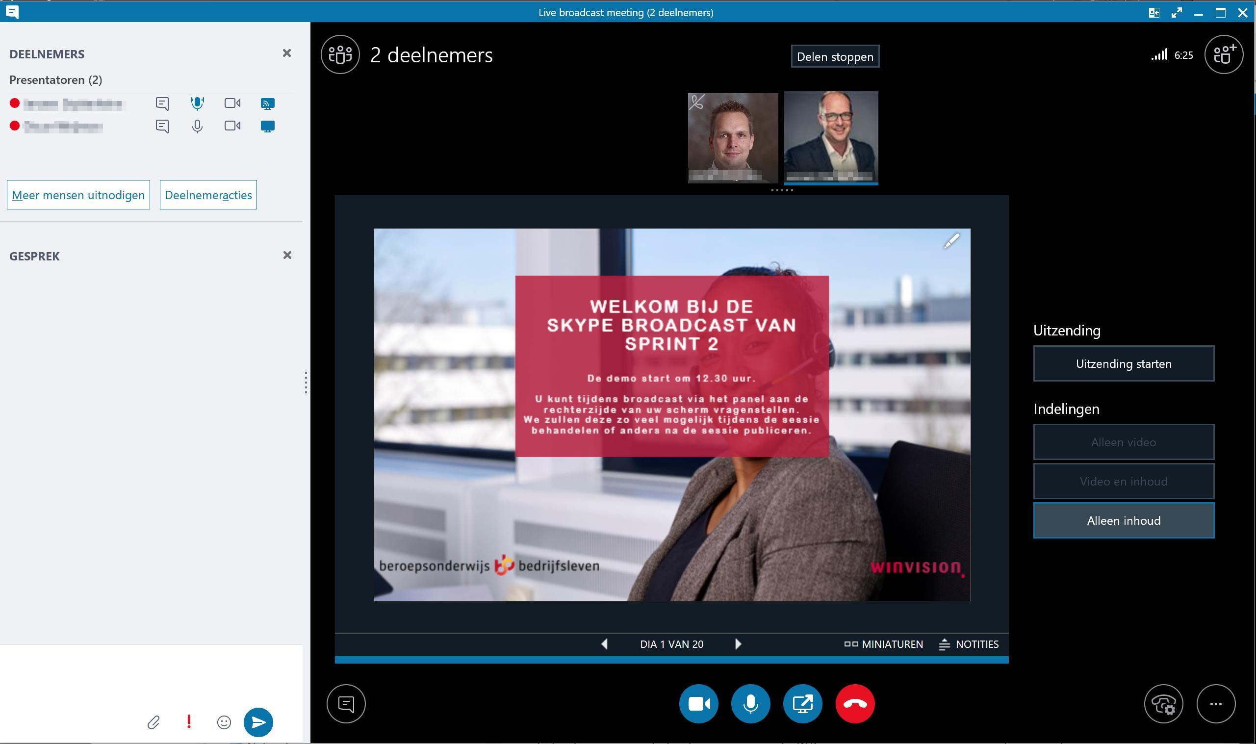 Overzicht inhoud Skype Meeting Broadcast