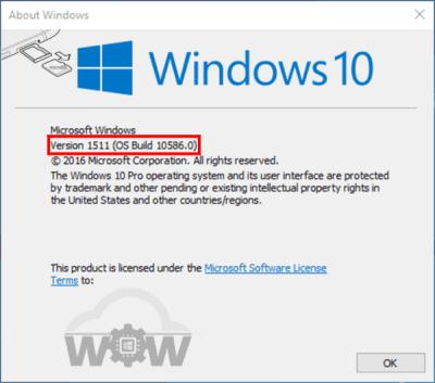 Windows 10 Version 1511 | OS Build 10185