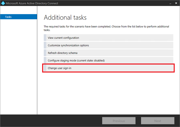 Additional tasks in Microsoft Azure Active Directory Connect