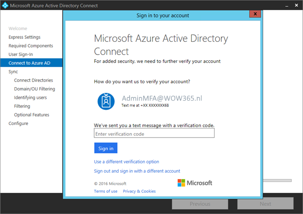 Modern Authentication ondersteuning in Azure AD Connect 1.1