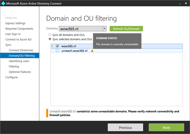 Domain and OU filtering in Azure AD Connect 1.1