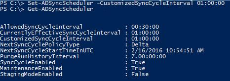 Set-ADSyncSchedulder powershell commando voor Azure AD Connect